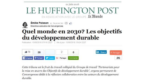 «Quel Monde en 2030 ? Les Objectifs de développement durable» – Tribune du GT 1