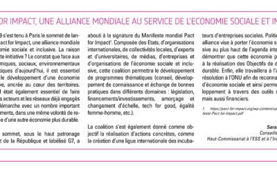 Pact for Impact, une alliance mondiale au service de l'économie sociale et inclusive