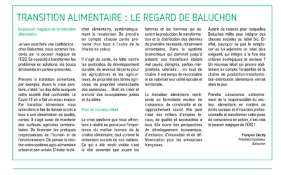 Food transition: Baluchon's perspective